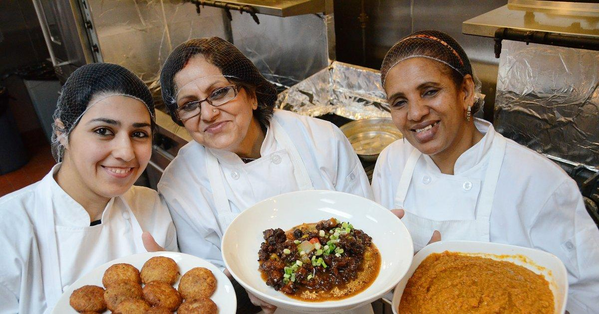 Lebanese sisters Manal and Wissam Kahi cooking food and offering jobs to refugees